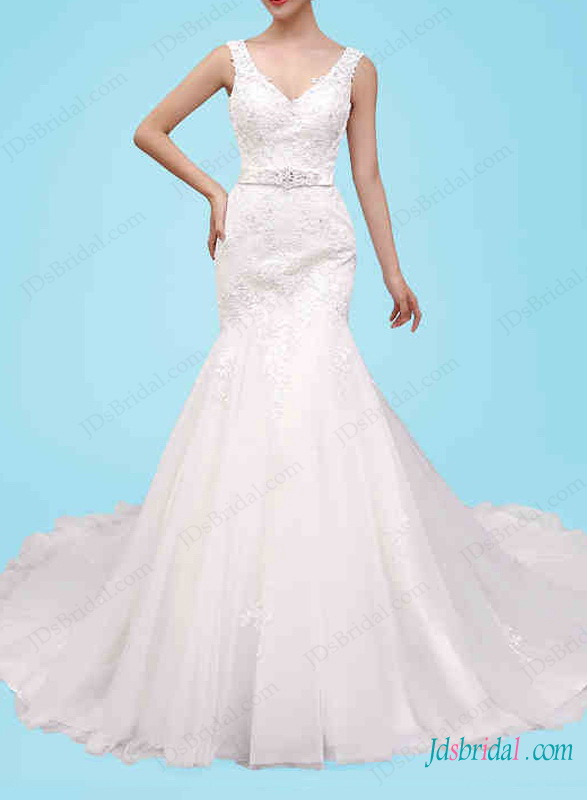 H1462 Strappy mermaid wedding dress for curvy women