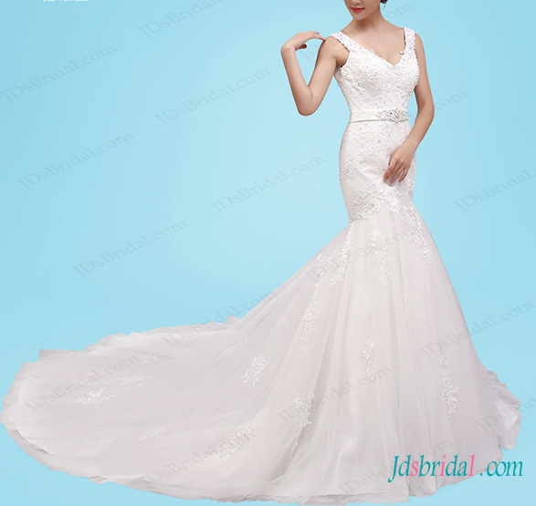 stunning v neckline lace strappy mermaid wedding dress with long train