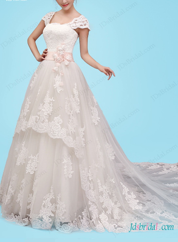 H1463 Dreamy princess tulle wedding dress with cap sleeves