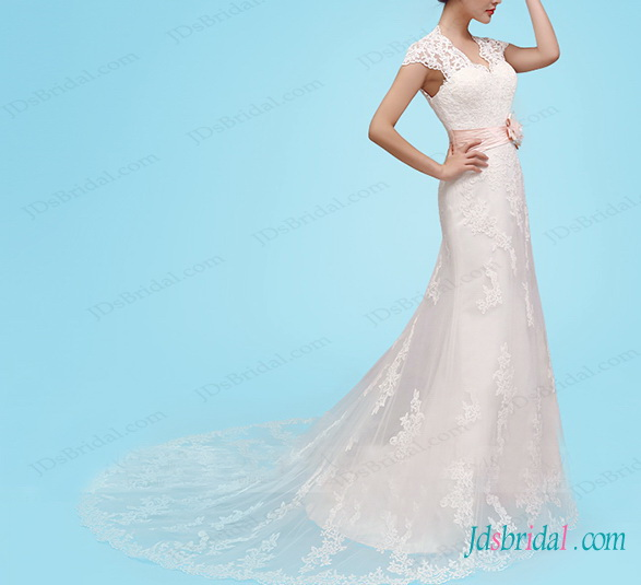 H1464 romance keyhole back lace mermaid wedding dresses