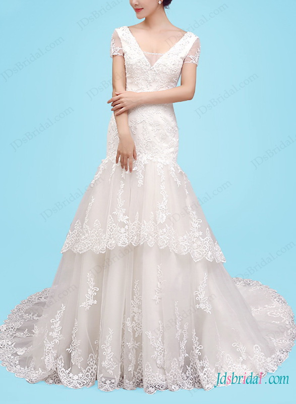 beautiful v neckline lace mermaid tiered wedding dress with short sleeves
