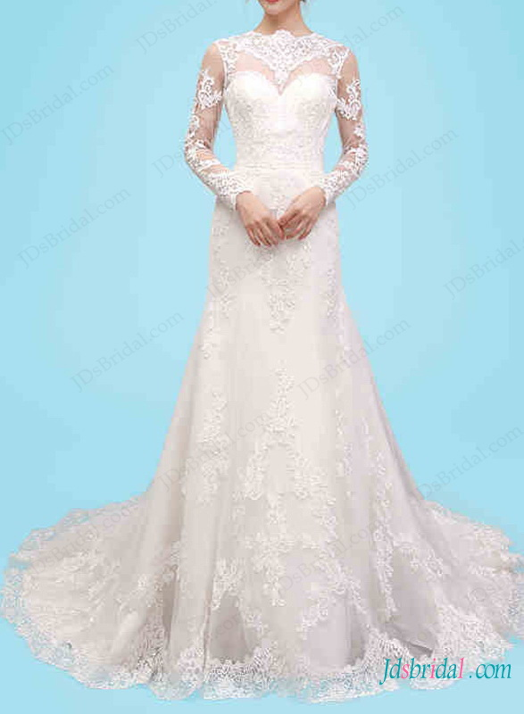 H1467 sexy keyhole open back long sleeved lace wedding dress for Lace back long sleeve wedding dress