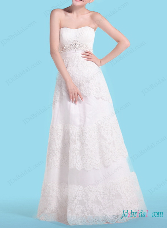 H1468 casual a line strapless lace wedding dress for Casual lace wedding dress