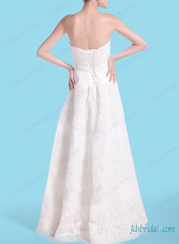 H1468 Casual A line strapless lace wedding dress