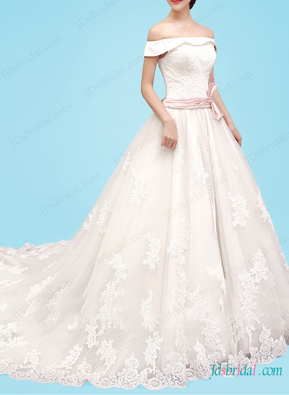 H1469 Beautiful off shoulder dreamy princess lace wedding dress