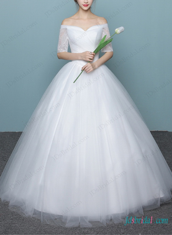 H1470 Dreamy Princess Off Shoulder Ball Gown Wedding Dress