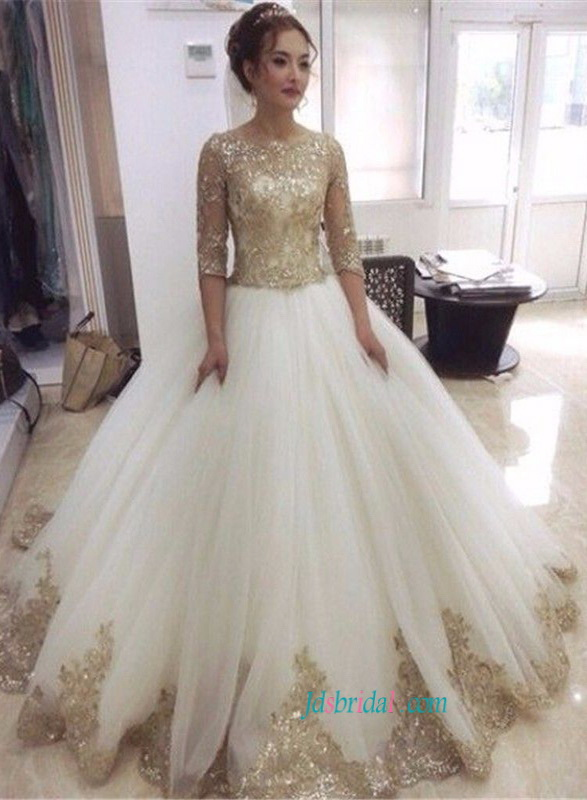 H1473 glitter gold sequined lace ball gown wedding dress for Sparkly wedding dresses with sleeves