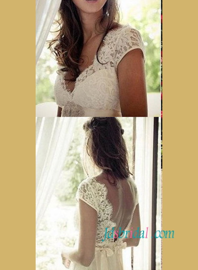 H1476 Romance cap sleeved empire destination airy wedding dress