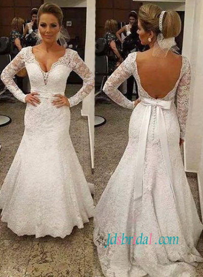 lace wedding dresses with sleeves and open back junoir