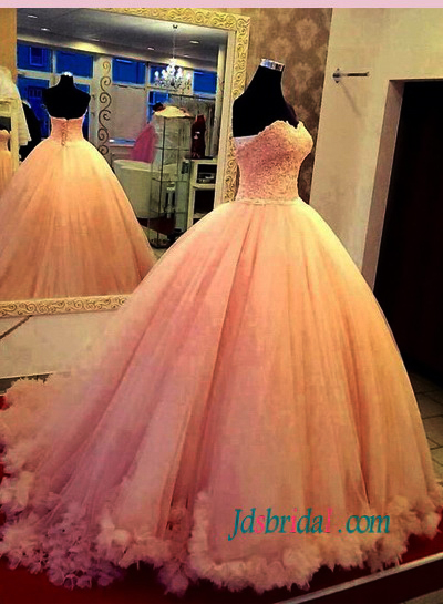 H1484 Feminie pink colored princess ball gown wedding dress