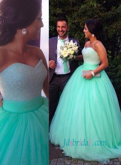 H1485 Mint light green colored sparkly princess wedding ball gown dress