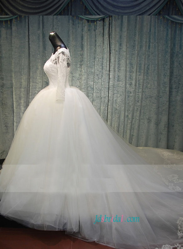 H1487 modest lace fairytale tulle wedding dress with long for Fairytale ball gown wedding dresses