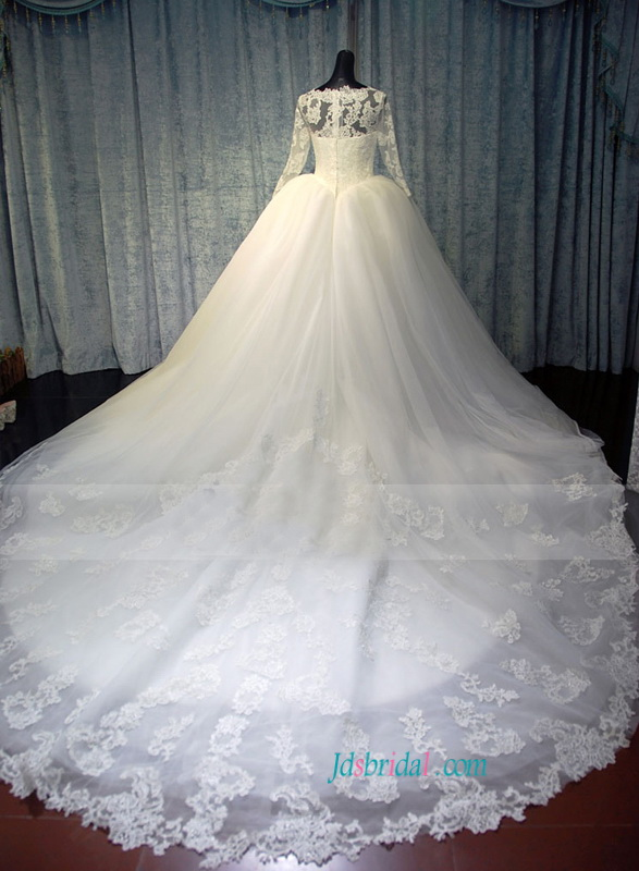 H1487 Modest Lace Fairytale Tulle Wedding Dress With Long Sleeves