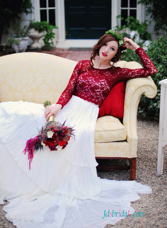 H1490 Romantic red and white vintage separates chiffon wedding dress
