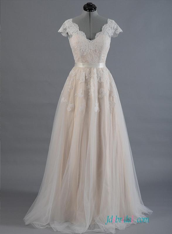 H1493 Elegant Color Cap Sleeved Illusion Lace Back Wedding Dress