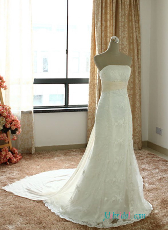 H1495 Casual cheap lace modified a line wedding dress