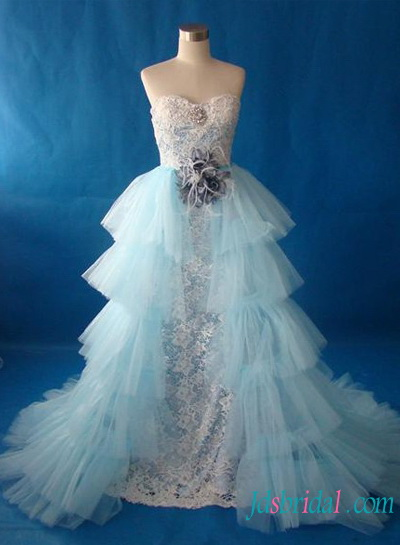H1496 Fantasy white and blue lace wedding dress with detachable train