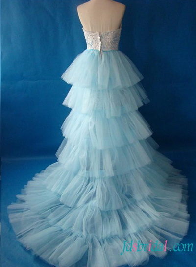 H1496 Fantasy white and blue lace wedding dress with detachable train :