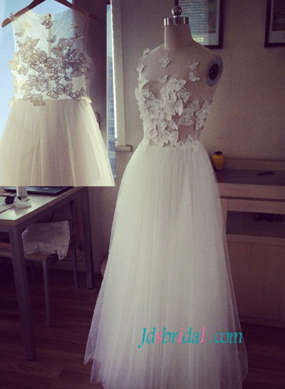 H1497 sexy see through bodice wedding dress with butterfly for See through wedding dresses