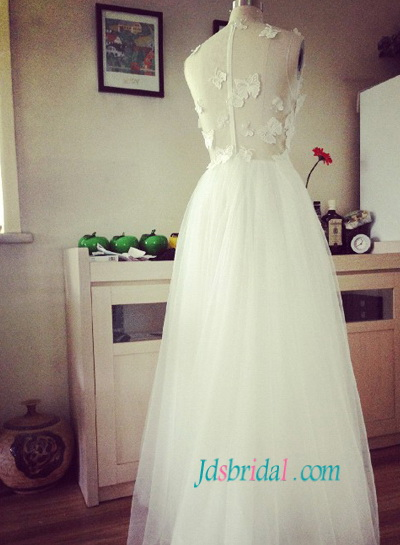 H1497 Y See Through Bodice Wedding Dress With Erfly Lace