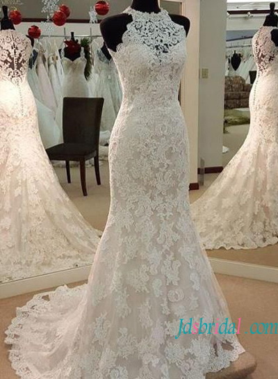 H1499 Elegant halter high neck lace mermaid wedding dress