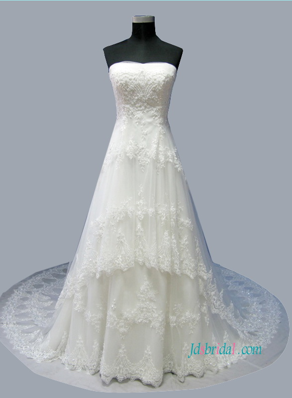 H1501 Latest Princess tiered tulle lace a line wedding dress :