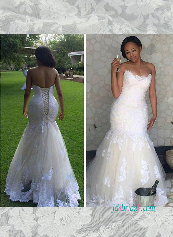 H1502 Stunning white lace with ivory tulle mermaid wedding dress