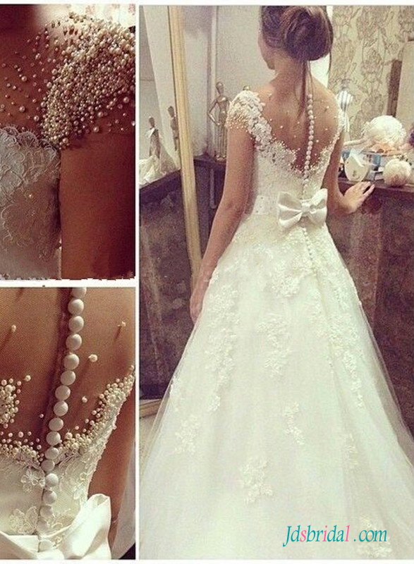 H1506 Gorgeous lace princess wedding dress with pearls details