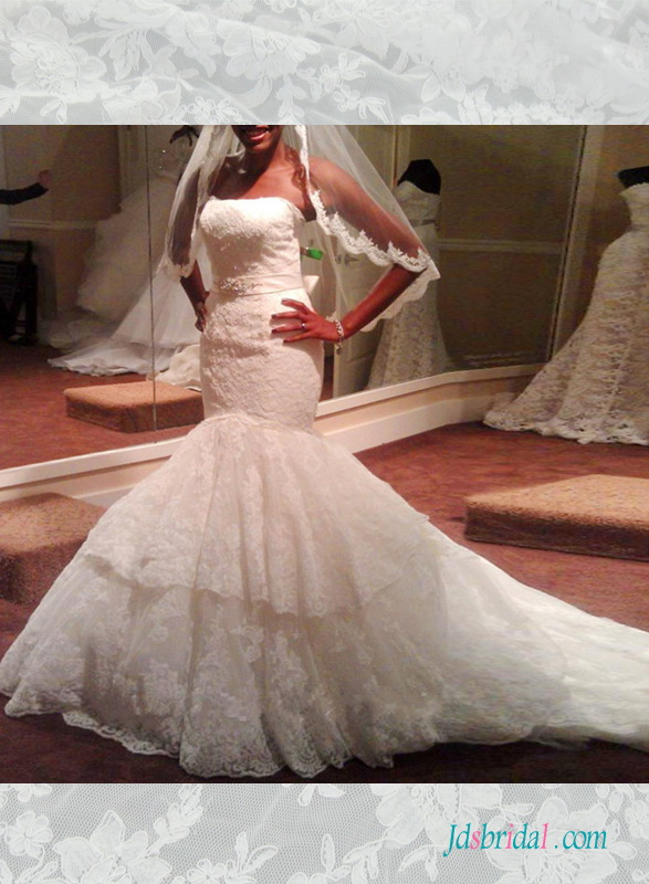 H1508 Stunning strapless tiered lace mermaid wedding dress