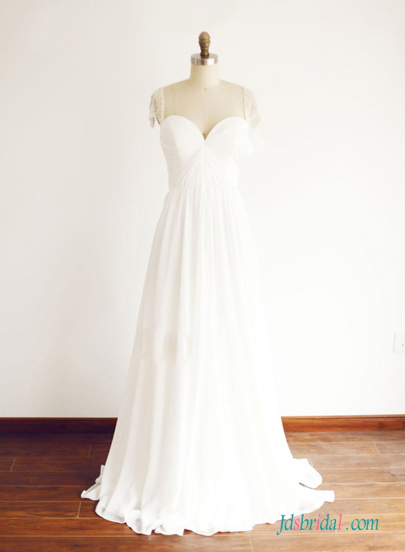 H1511 Elegant simple sweetheart neck chiffon a line wedding dress