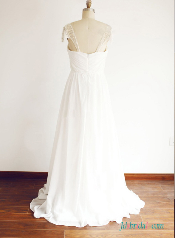 beautiful top destination chiffon beach wedding dress with pearls beading cap sleeves