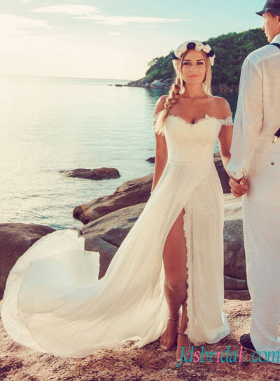 H1513 Y Boho Chiffon Beach Wedding Dress With Skirt