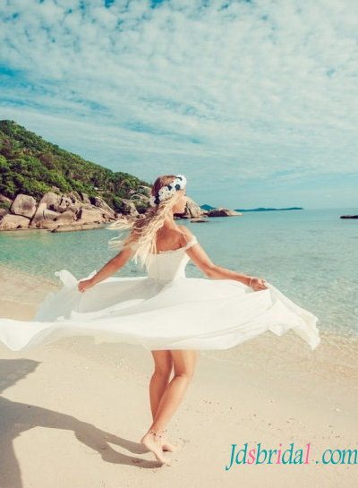romantic boho chiffon beach wedding dress with slit on leg and off shoulder