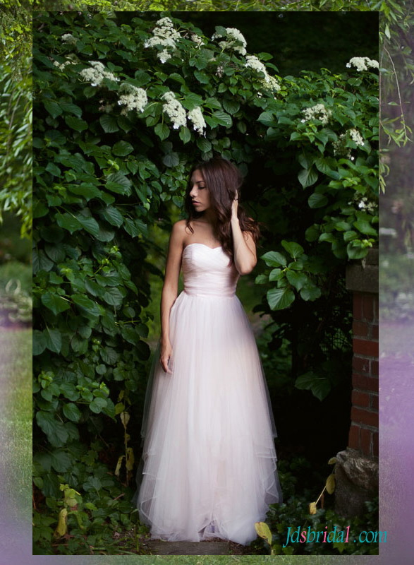 H1514 Ethereal simple boho blush tulle wedding dress gowns