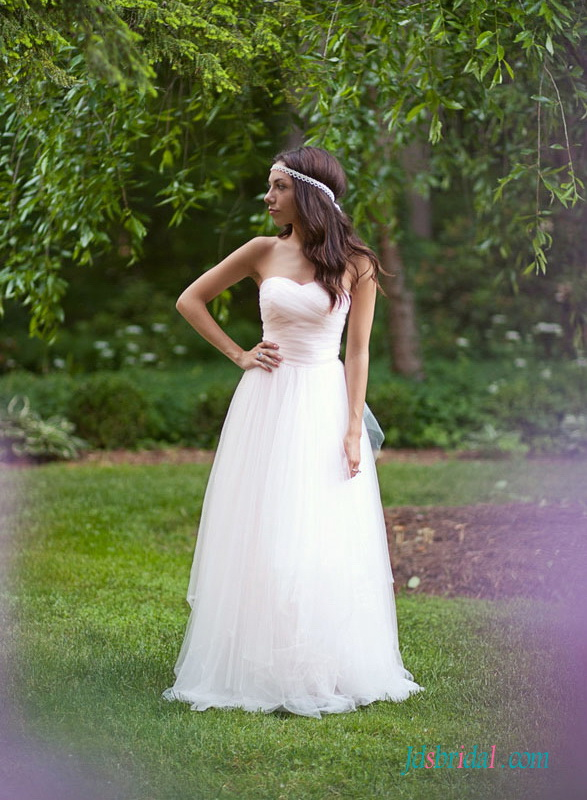 H1514 Ethereal simple boho blush tulle wedding dress gowns :