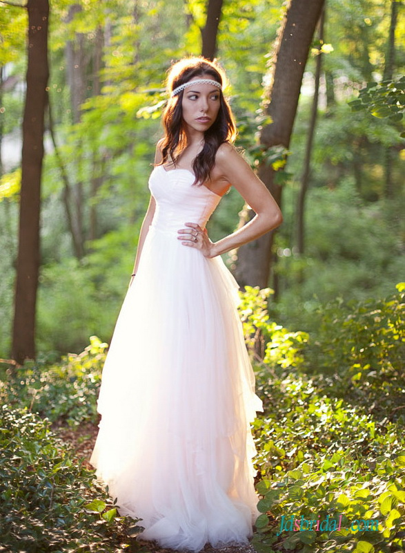 H1514 ethereal simple boho blush tulle wedding dress gowns for Blush tulle wedding dress