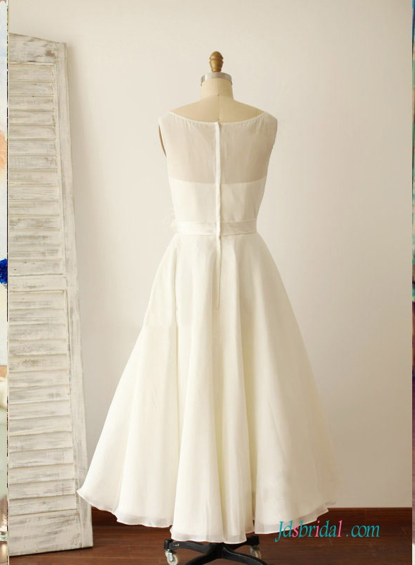 vintage inspired 1950s 60s simple tea length ivory chiffon a line wedding dress for destination