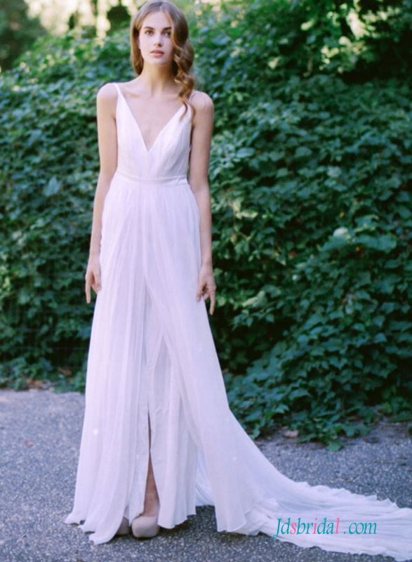Sexy Backless Airy Light Boho Slit Chiffon Wedding Dress Vestido De