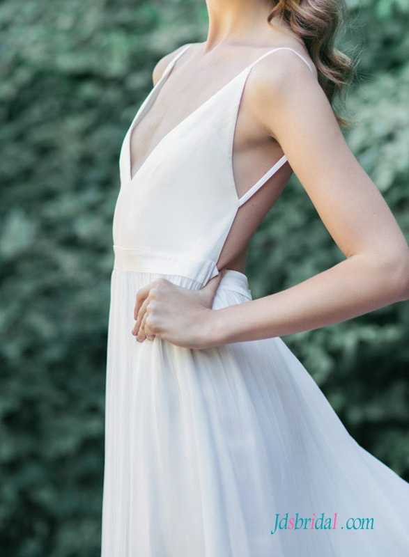 H1523 sexy simple backless boho destination wedding dress
