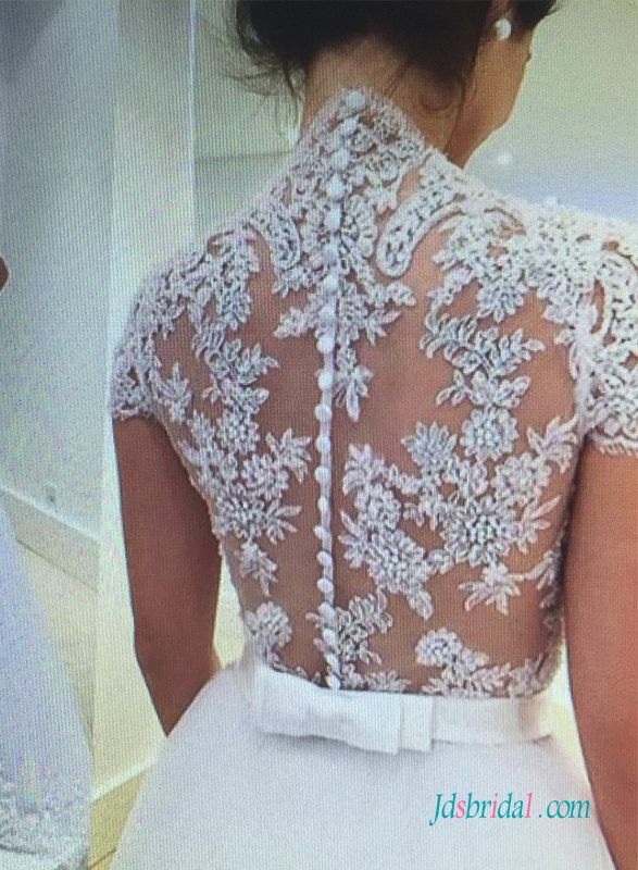H1527 Gorgeous illusion sheer lace back a line wedding dress 2016