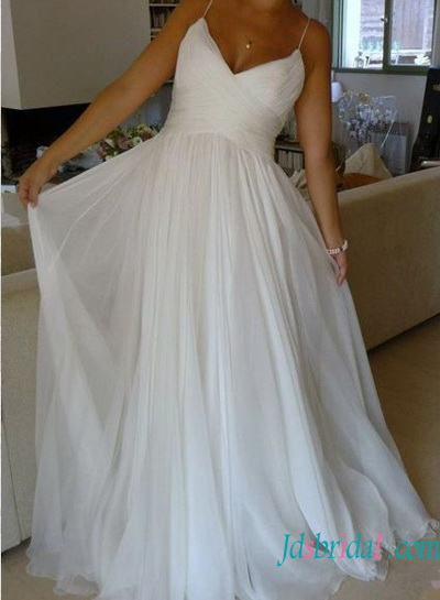 H1528 simple soft airy ethereal chiffon beach wedding dresses