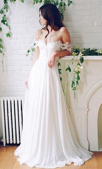 H1529 Ethereal Flowy Chiffon Boho Beach Wedding Dress