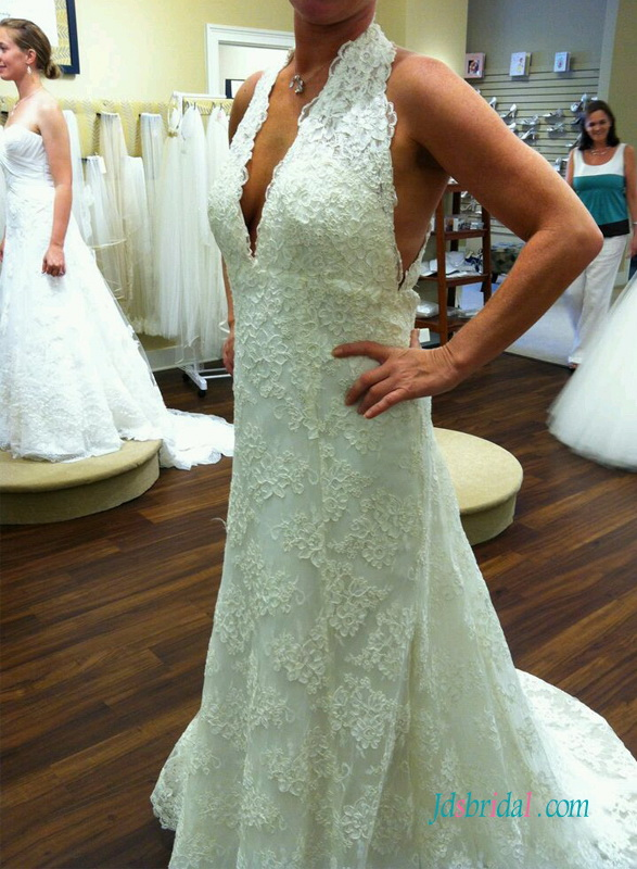 H1531 Sexy plunging halter empire lace sheath wedding dress