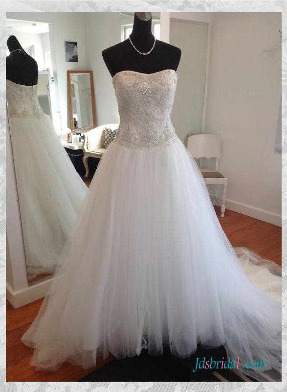 H1532 Fairy silvery beading embroidery white tulle wedding dress