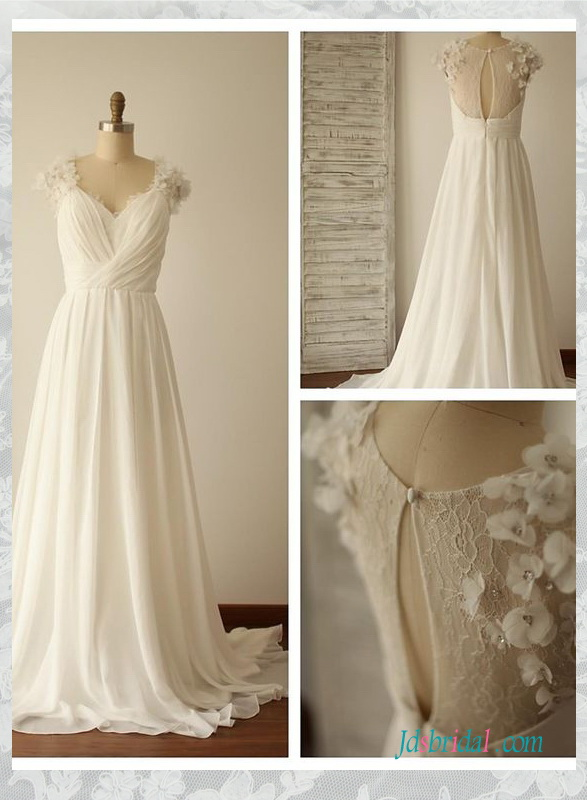 H1534 simple illusion lace back chiffon beach flowy wedding dress