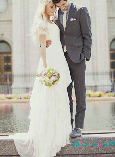 romantic flowy chiffon lace wedding dress with short sleeves for bohomian woodland wedding