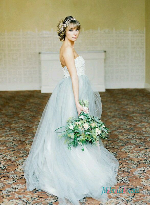 H1538 Pastel blue grey colored woodland tulle wedding dress :