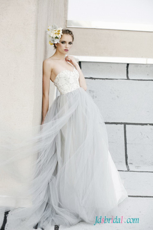 H1538 Pastel Blue Grey Colored Woodland Tulle Wedding Dress