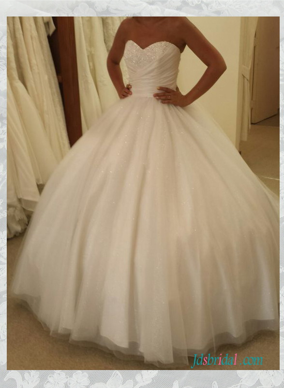 H1539 Sparkly sweetheart neck pleated tulle ball gown wedding dress