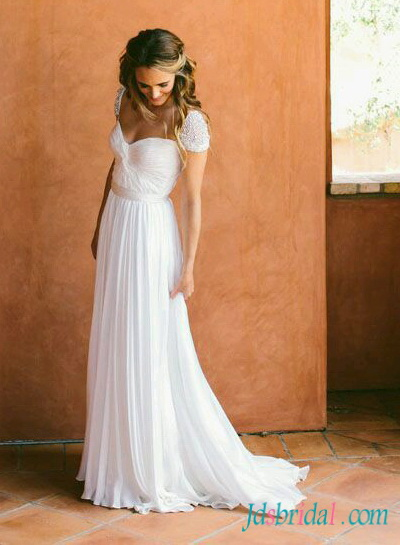 Chiffon wedding dresses for beach bohemian destination wedding for Flowy wedding dress with sleeves